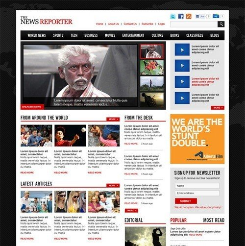 news website templates Melo.in tandem.co
