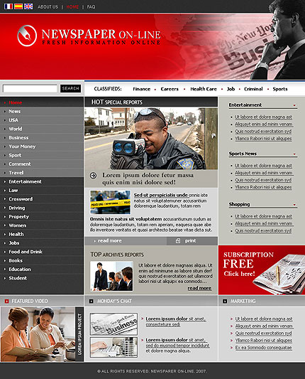 website template newspaper Melo.in tandem.co