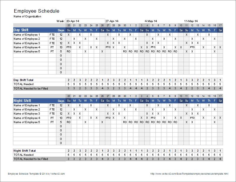 Employee Schedule Template   Shift Scheduler
