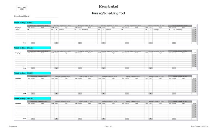 nursing staff schedule template Melo.in tandem.co