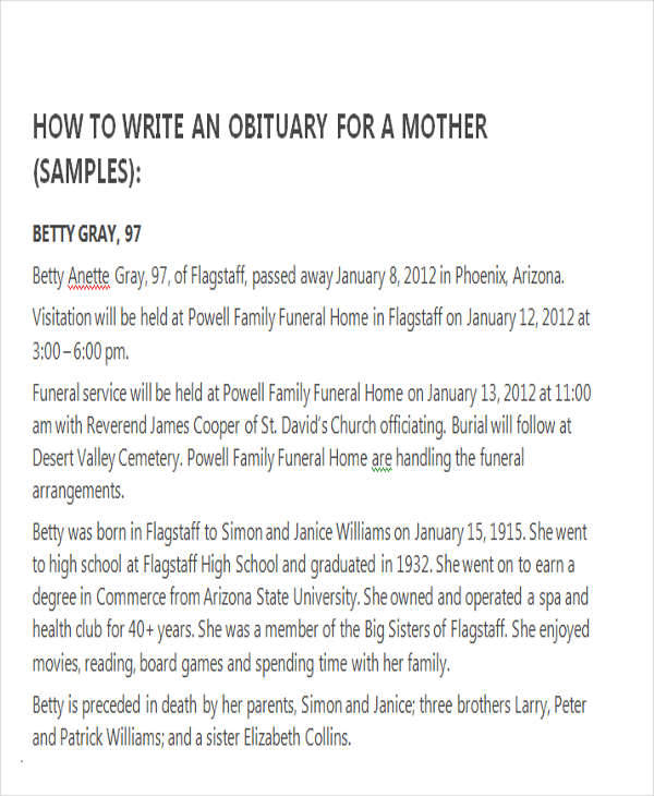 writing an obituary for mother East.keywesthideaways.co