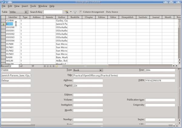 Bibliographic database on Writer Apache OpenOffice Wiki