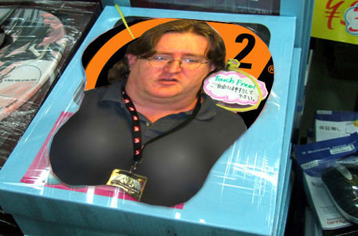 If you want to ask, that is an oppai mouse pad. | Gabe Newell