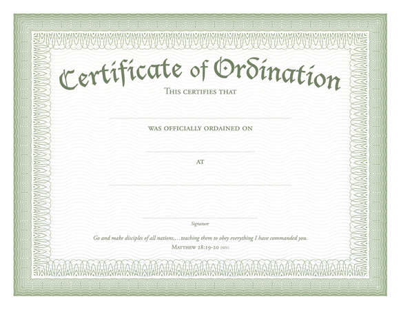 ordination certificate templates certificate of ordination