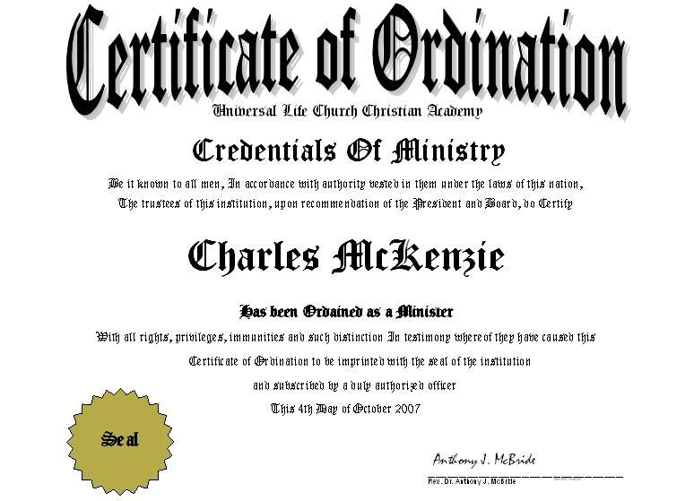 ordination certificate templates minister license certificate