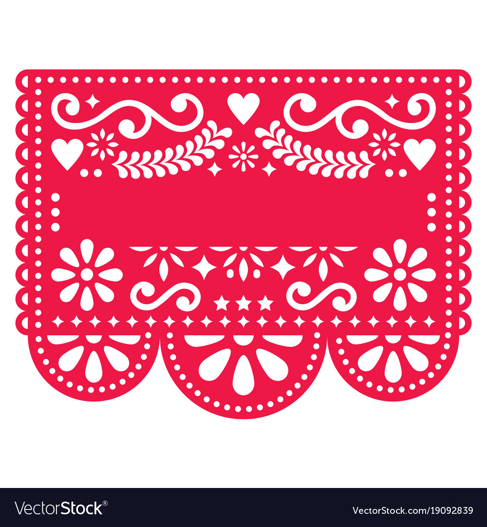 Mexican papel picado template design Royalty Free Vector