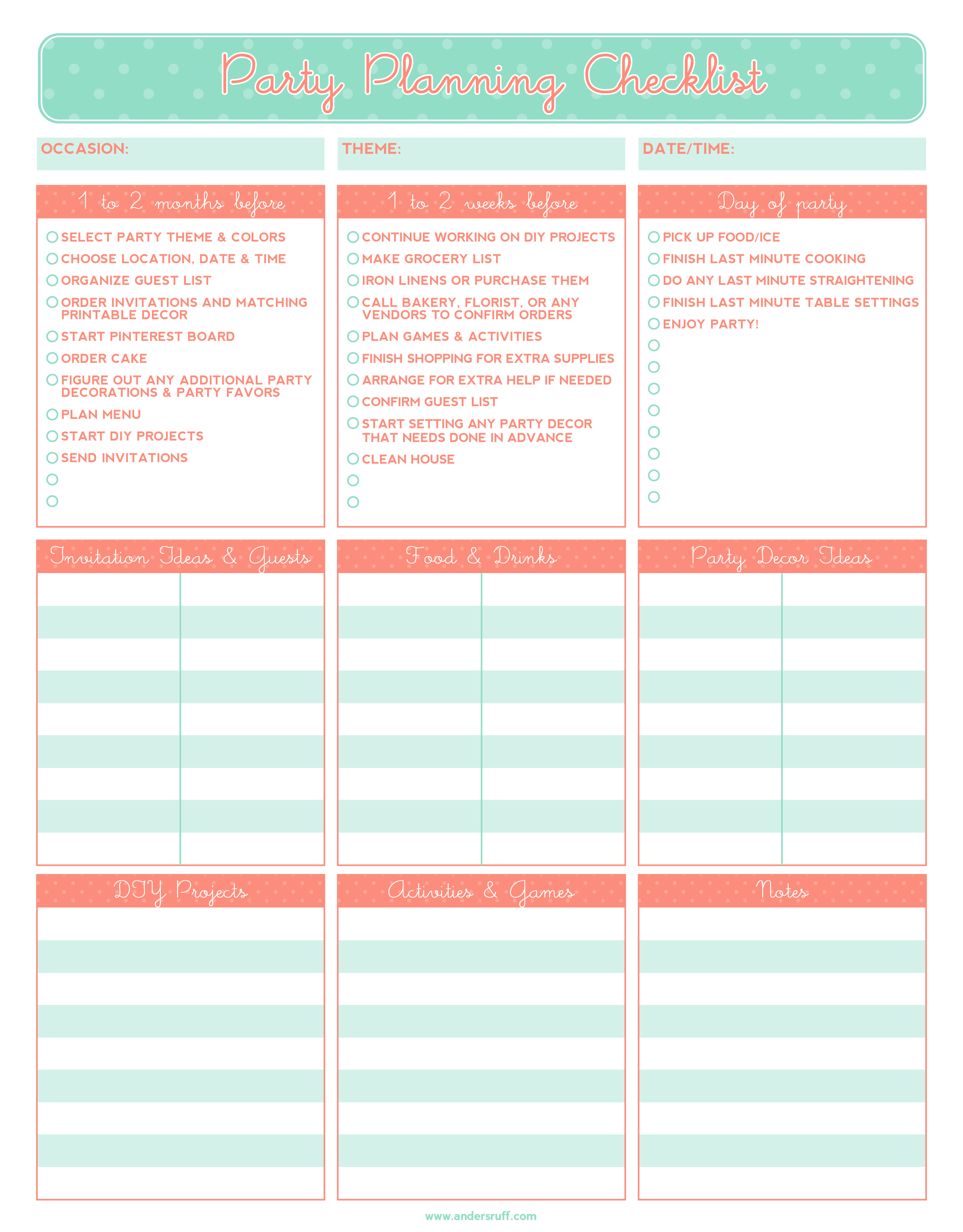 party planning template free Melo.in tandem.co