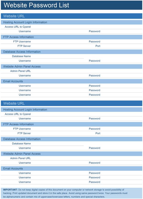 9+ Sample Password Spreadsheet Templates PDF, DOC, Excel | Free