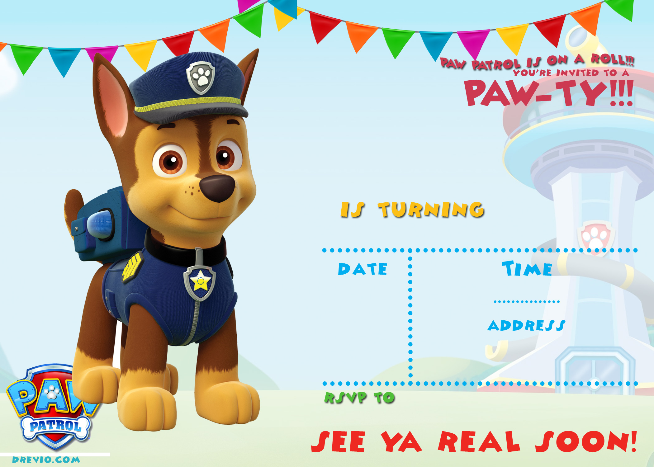 FREE Printable Paw Patrol Birthday Invitation Ideas | FREE