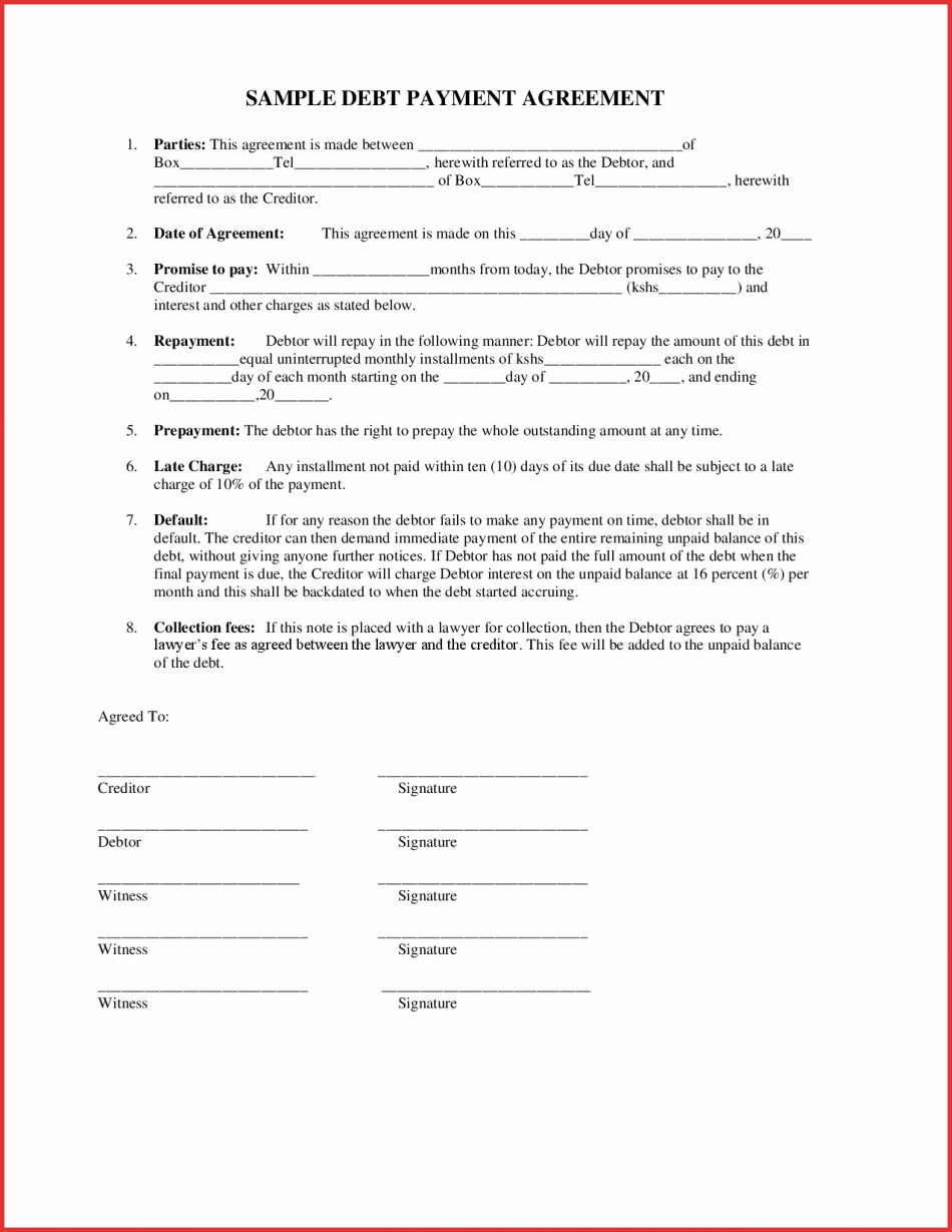 Payment Agreement Template Between Two Parties