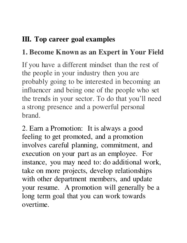 personal career goals examples Melo.in tandem.co