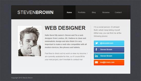 Personal Website Html Template Holdingfidens.com