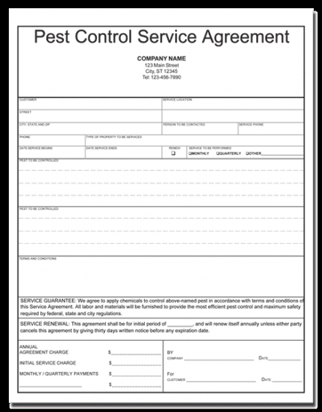 Pest Control Service Agreement Template Pest Control Invoice Forms