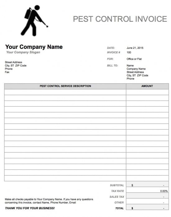 Free Pest Control Invoice Template | Excel | PDF | Word (.doc)