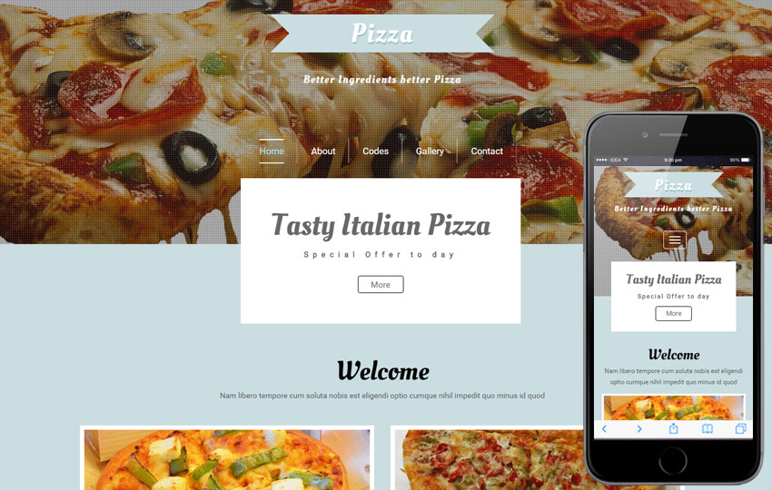 Pizza a Hotel Category Flat Bootstrap Responsive Web Template by
