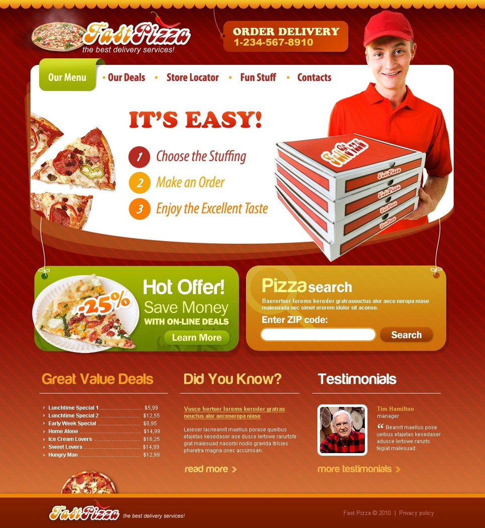 Appetizing Pizza Website Templates | Entheos