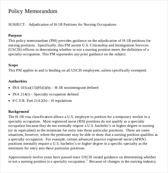 policy memo template word