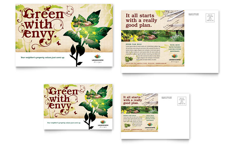 Landscape Design Postcard Template Word & Publisher