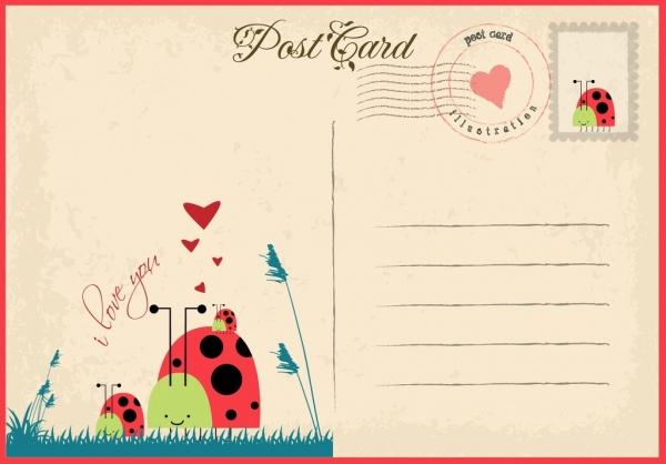 Postcard Template Ai Postcards 5 X 7 Backs Illustrator Vintage