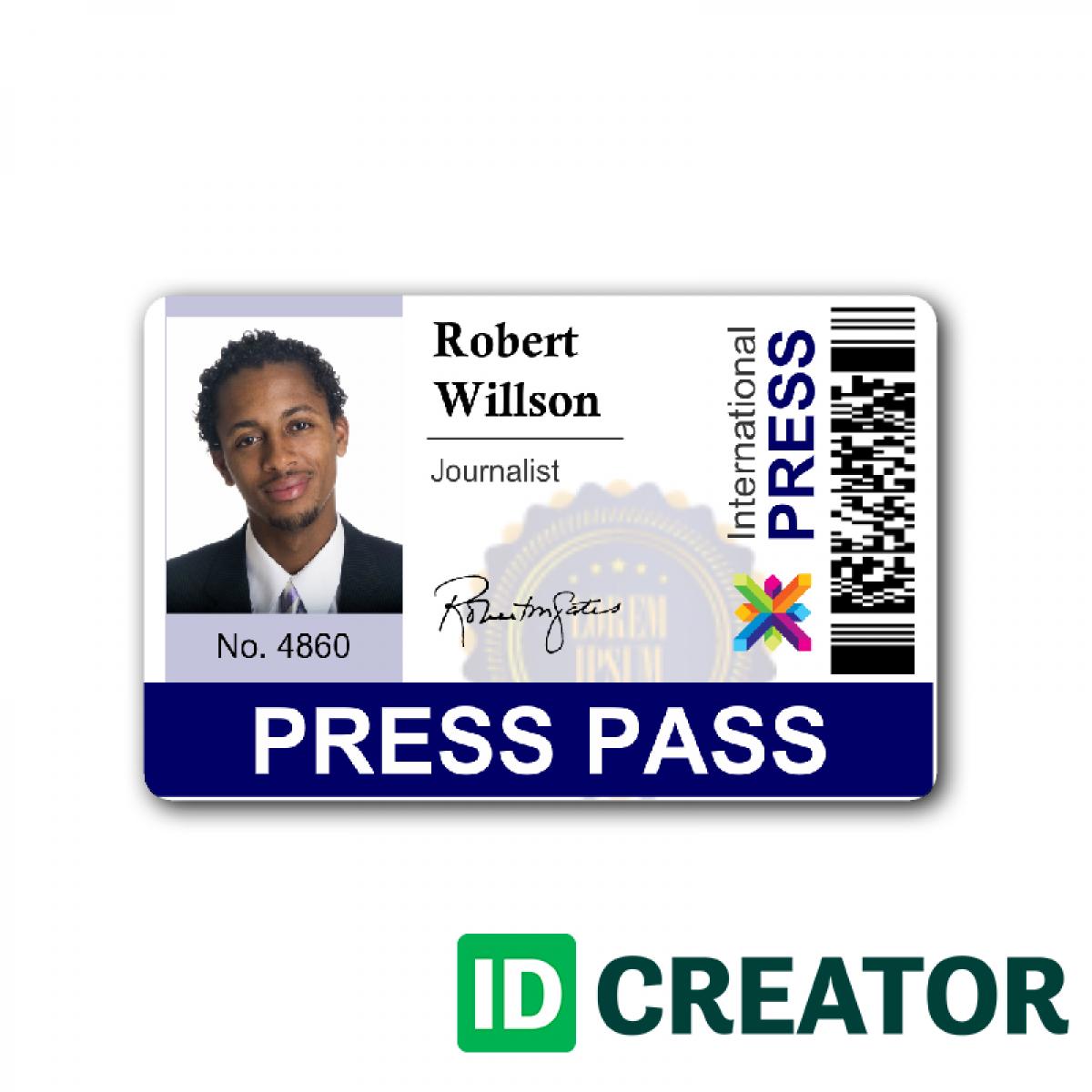 Press Pass Template Microsoft Word FREE DOWNLOAD