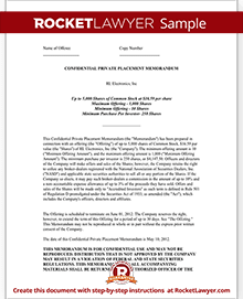 Private Placement Memorandum Template Private Offering Letter