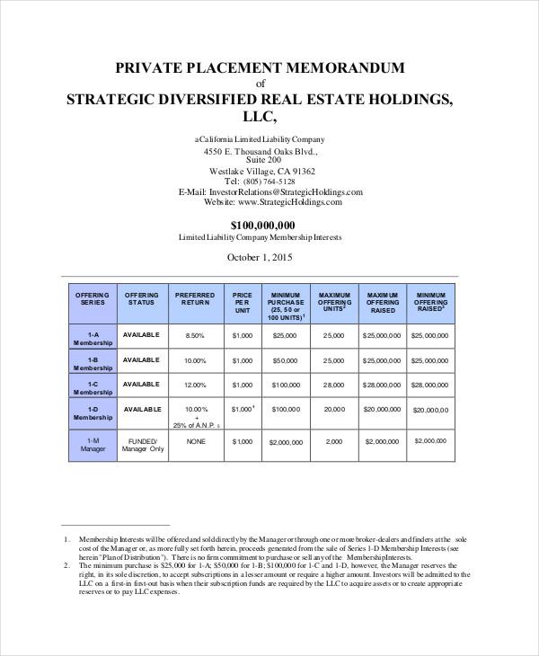 Private Placement Memorandum 10+ Free PDF Documents Download