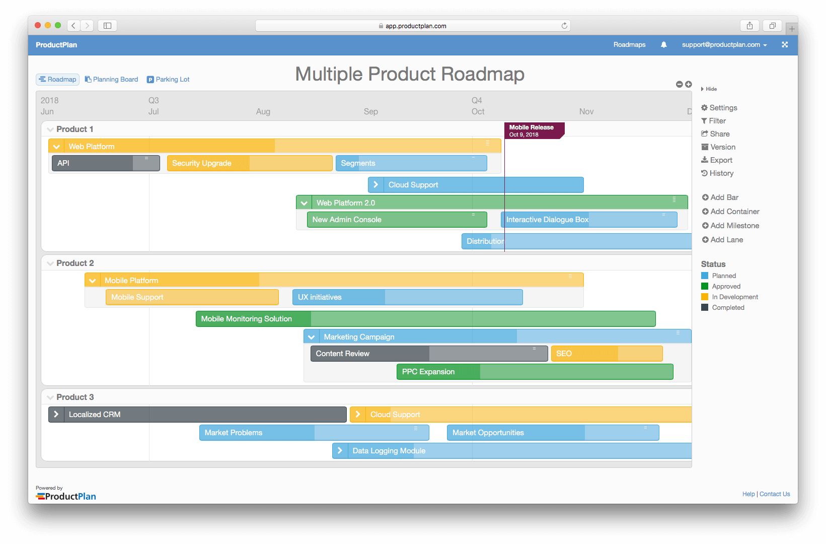 Multiple Product Roadmap Template