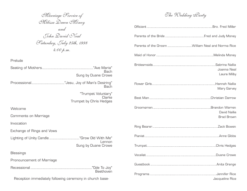 Wedding Program Template 6