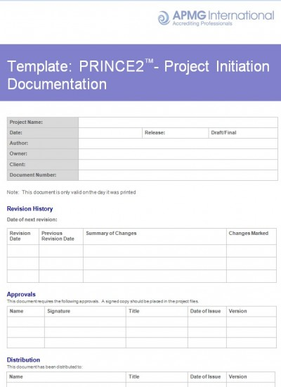 PRINCE2® Project Initiation Documentation Template | APMG Business