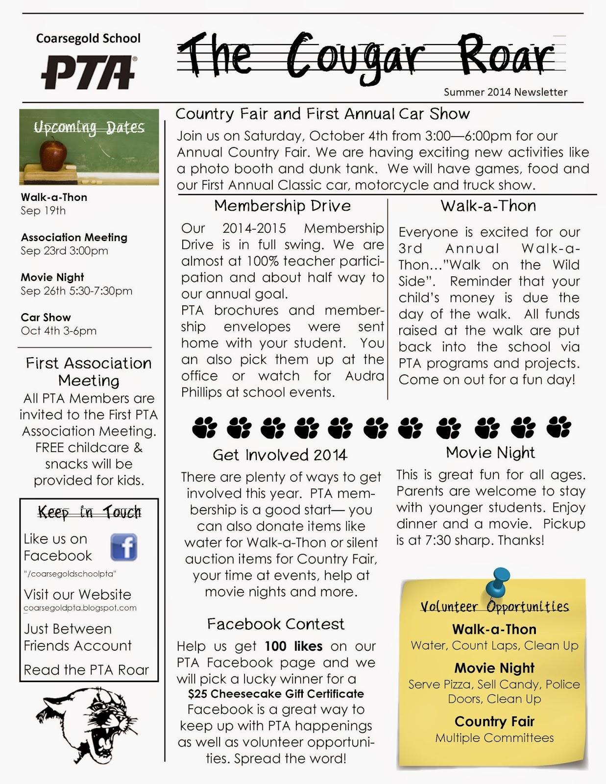 Pta Newsletter Templates Hatch Urbanskript Co Education Newsletter
