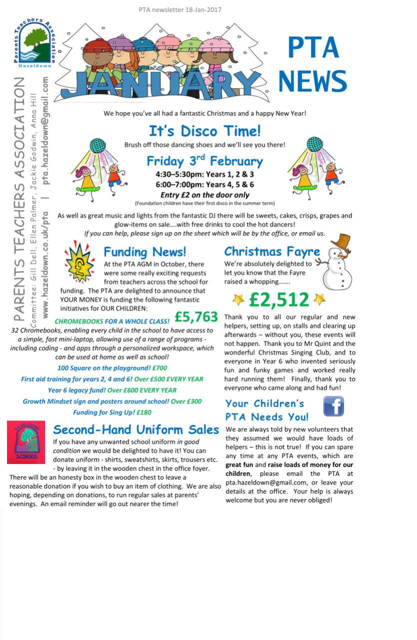 Pta Newsletters Hazeldown Primary School Primary School Newsletter
