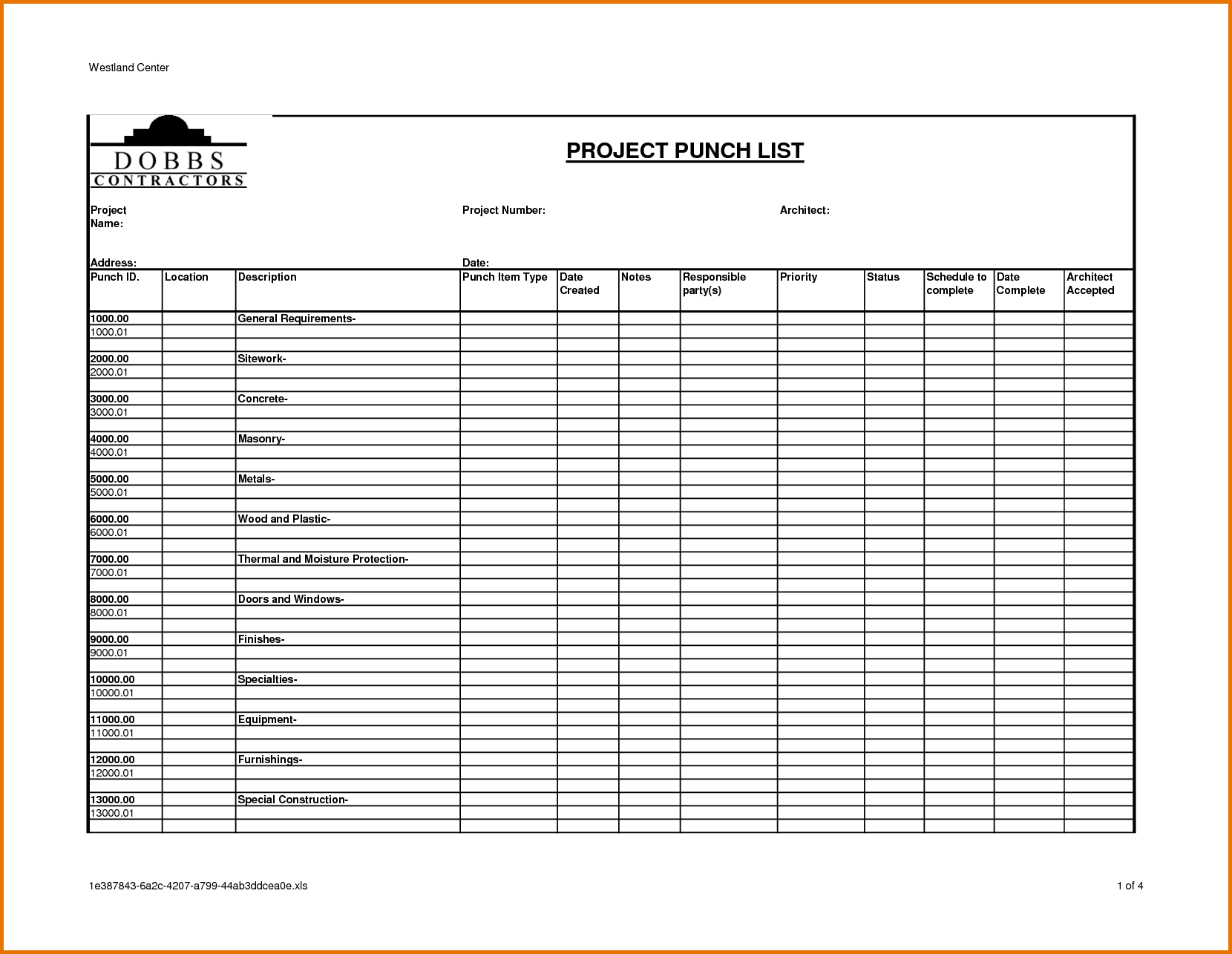 punch list excel template Melo.in tandem.co