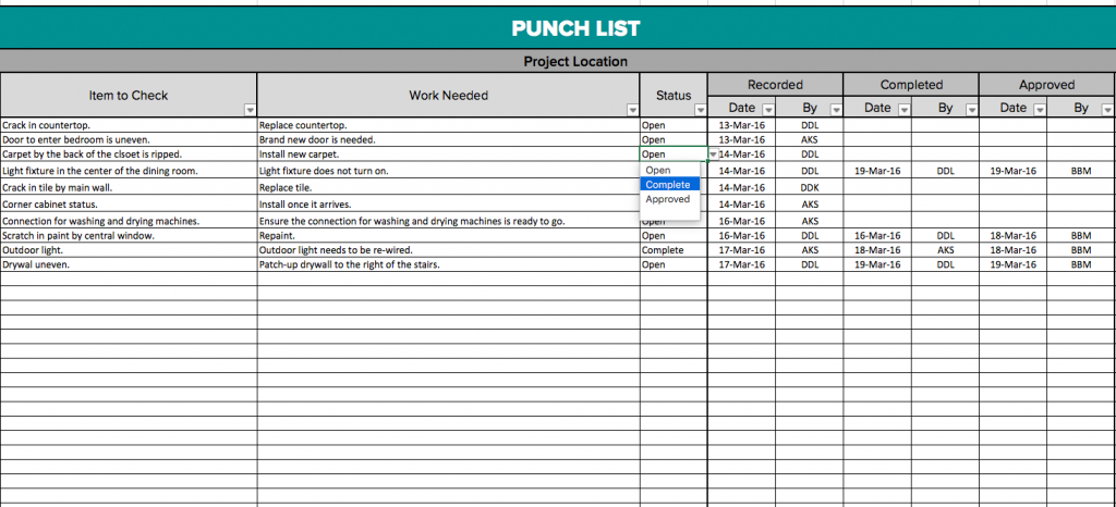 punch list items sample Melo.in tandem.co