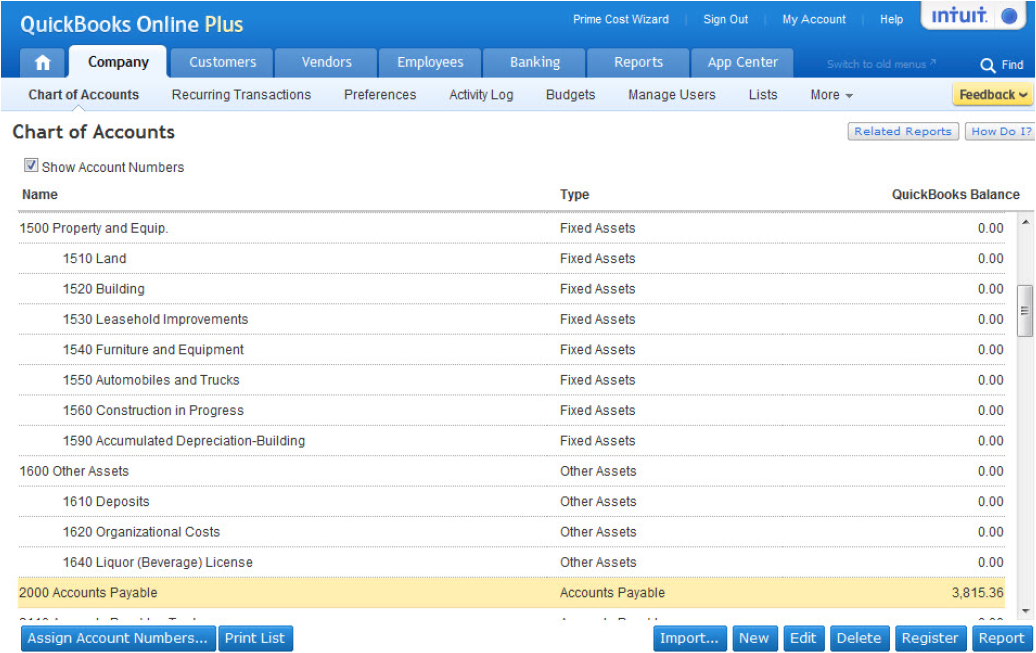 quickbooks online chart of accounts template Gala.kidneycare.co