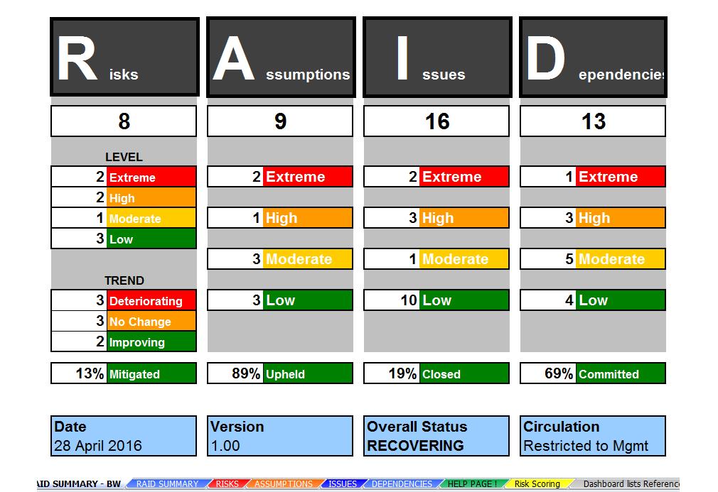 Excel RAID Log & Dashboard Template: Track & Report Risk & Mitigation