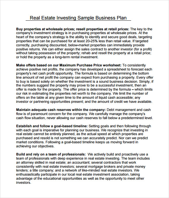 business plan template for investors real estate investment