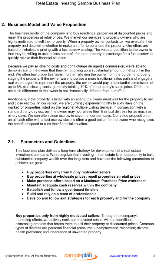 business plan template real estate development real estate
