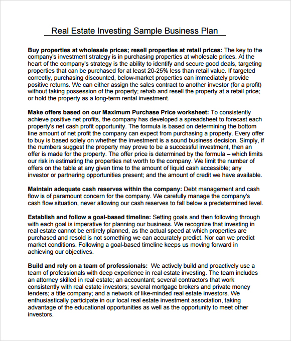 real estate business plan template sample template property