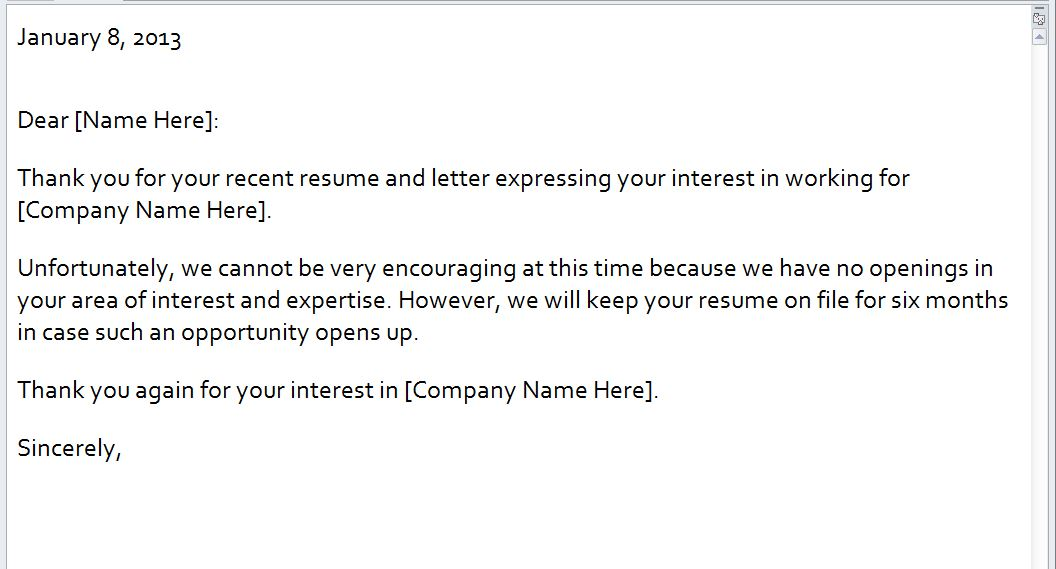 Rejection Email Template | Rejection Letter Email