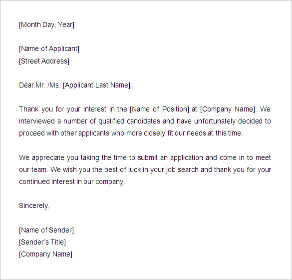 application rejection email template Melo.in tandem.co