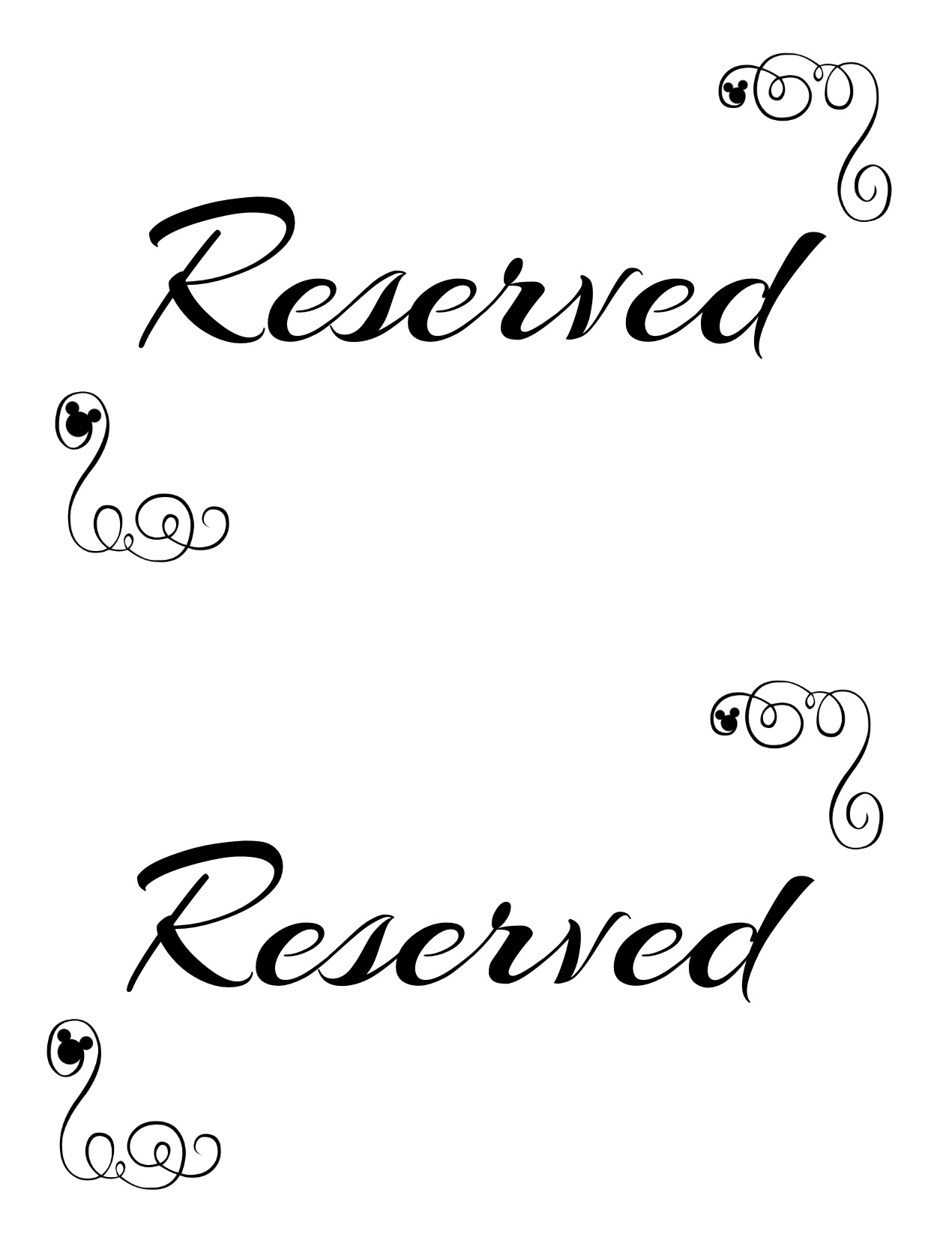 Reservation Signs Template | melanoma2010.com