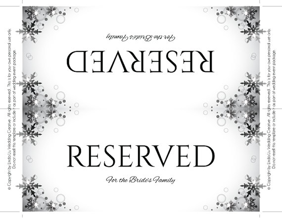 picture relating to Free Printable Reserved Seating Signs referred to as Reserved Signal Template
