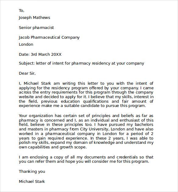 4+ Pharmacy Residency Letter of Intent Samples | Sample Templates