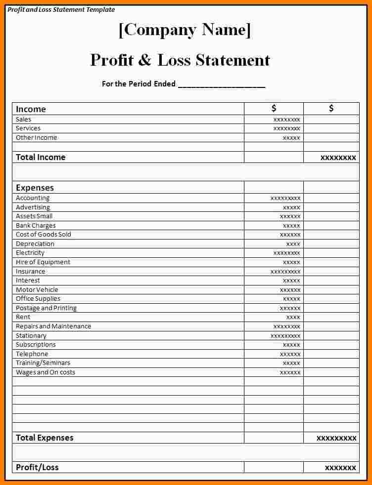 Restaurant Pl Statement Template Monthly Profit And Loss Excel