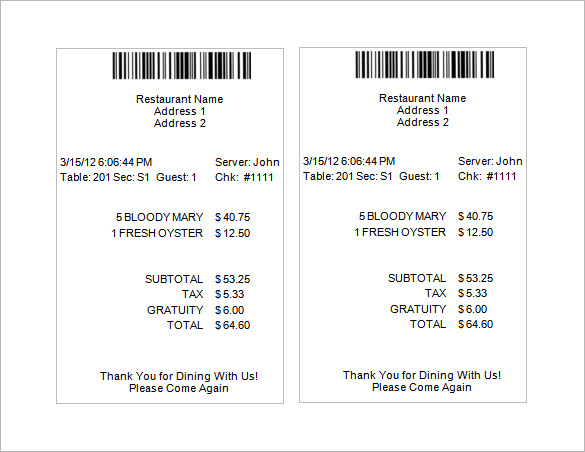 19+ Restaurant Receipt Templates – PDF, Word, Excel | Sample Templates