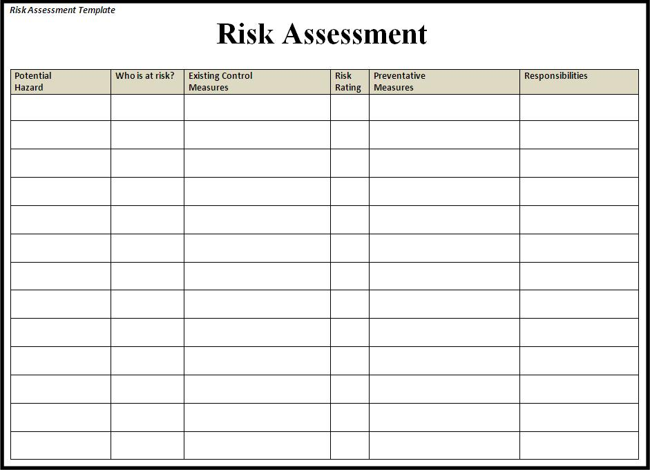 Risk Assessment Form Templates In Word Excel Project Management