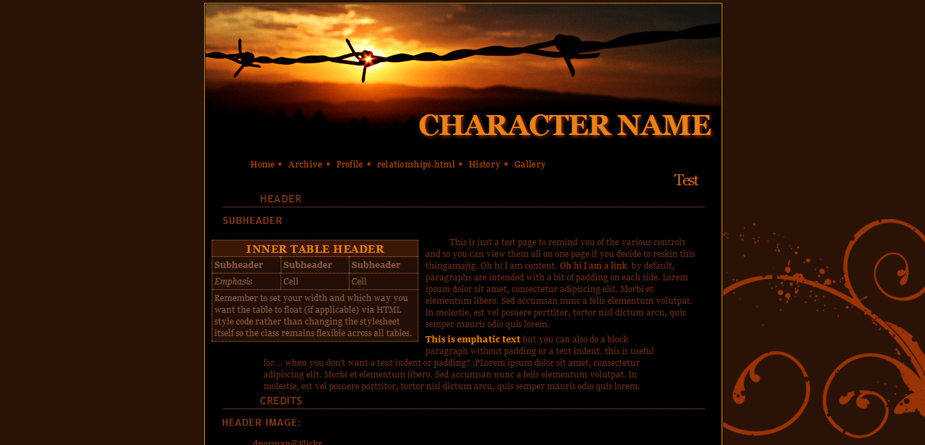 RPG Character Site | RP Character Sheets | Forum Roleplay
