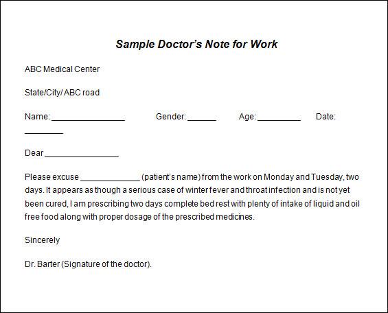 doctors sick note sample Melo.in tandem.co