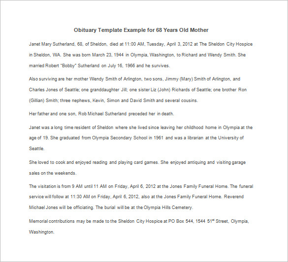 Obituary Template for Mother 12+ Free Word, Excel, PDF Format