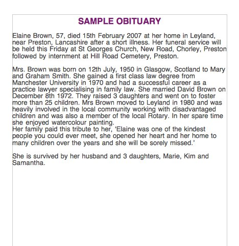 sample obituary template Melo.in tandem.co